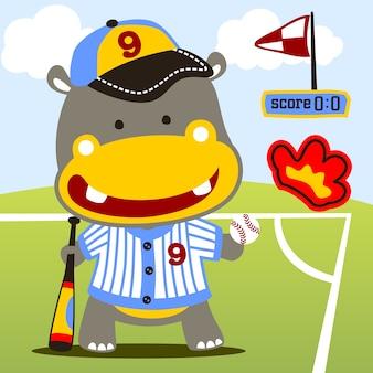 Vetor de desenho animado divertido do baseball player