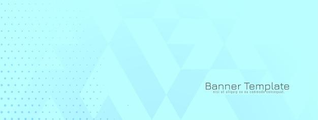 Vetor de desenho de banner azul suave geométrico brilhante