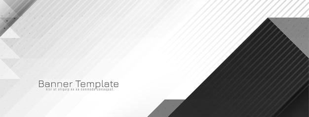 Vetor de desenho de banner moderno cinza e branco geométrico brilhante