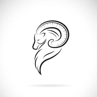 Vetor de desenho de cabeça de cabra em fundo branco ilustração em vetor em camadas editável fácilanimais