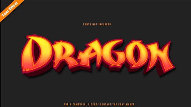 Vetor de desenho de efeito de texto de dragão. texto 3d editável