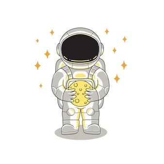 Vetor de desenho de ilustração de astronauta fofo