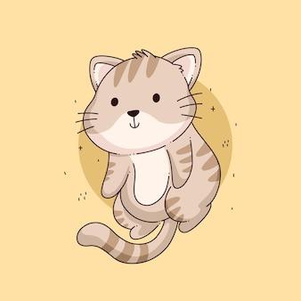Vetor de desenho de ilustração de gato fofo