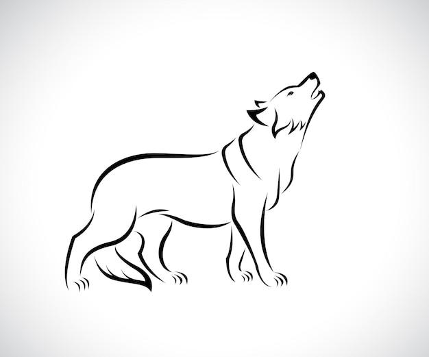 Vetor de desenho de lobo em fundo branco. ilustração em vetor em camadas editável fácil. animais selvagens.