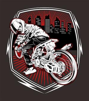 Vetor de desenho de mão de motocicleta de corrida de crânio