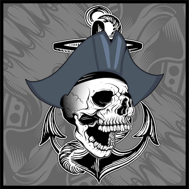 Vetor de desenho de mão de pirata caveira