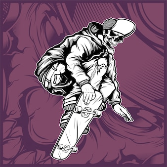 Vetor de desenho de mão de skate de caveira