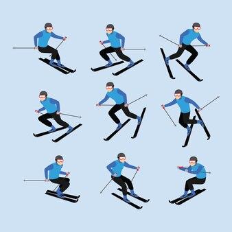 Vetor de desenho de personagem de jogador de esqui