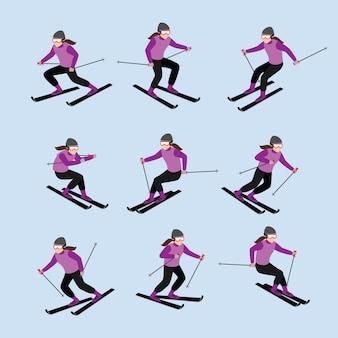 Vetor de desenho de personagem de jogador de esqui Vetor Premium