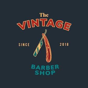 Vetor de desenho de texto de loja de barbeiro vintage