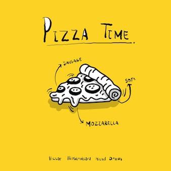 Vetor de desenho desenhado à mão de pizza pizza doodle ilustração vetorial minimalista para publicidade de logotipo