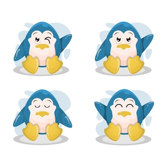 Vetor de desenhos animados bonito pinguim