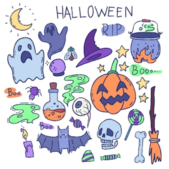 Vetor de desenhos animados conjunto de elementos de halloween. fantasma, caveira, abóbora