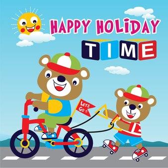 Vetor de desenhos animados de animal feliz feriado