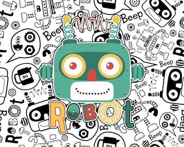 Vetor de desenhos animados de cabeça de robô no padrão sem emenda