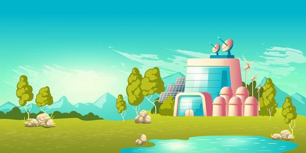 Vetor de desenhos animados de construção de estação de energia ecológica
