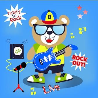 Vetor de desenhos animados de guitarrista
