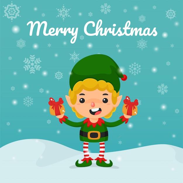 Vetor de desenhos animados de natal. elfos e caixas de presente na mão para presentear crianças no natal.
