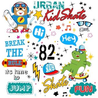 Vetor de desenhos animados de padrão de skate para t-shirt e outro uso