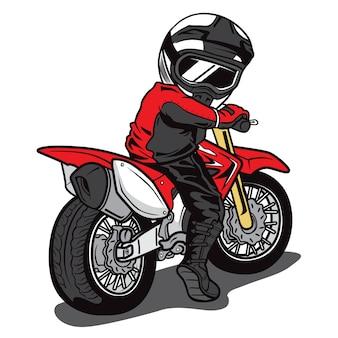 Vetor de desenhos animados de piloto de motocross