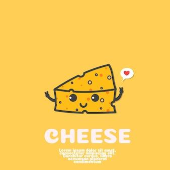 Vetor de desenhos animados de queijo bonito. conceito de comida kawaii.