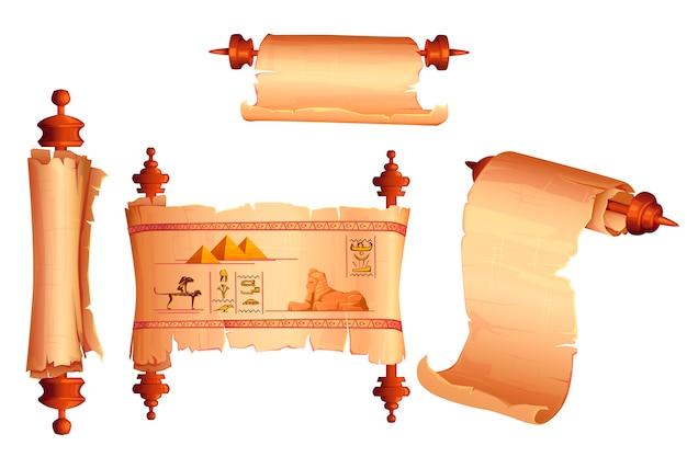 Vetor de desenhos animados de rolagem de papiro do egito antigo