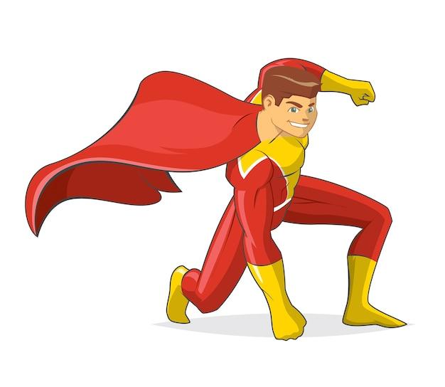 Vetor de desenhos animados de super-herói masculino