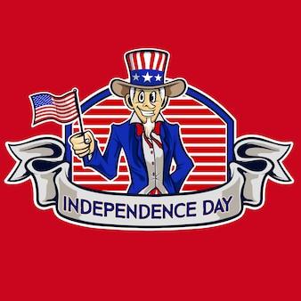Vetor de desenhos animados de tio sam do dia da independência