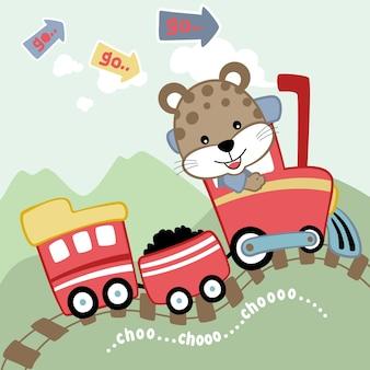 Vetor de desenhos animados de trem pequeno com maquinista bonito