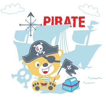 Vetor de desenhos animados de urso pirata