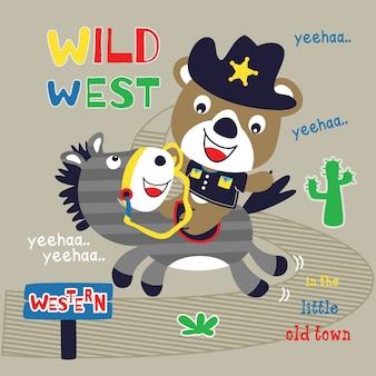 Vetor de desenhos animados de urso xerife