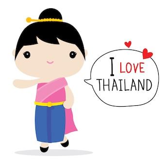 Vetor de desenhos animados de vestido nacional de mulheres de tailândia