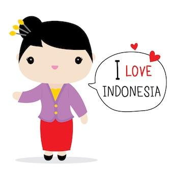 Vetor de desenhos animados de vestido nacional de mulheres indonésia