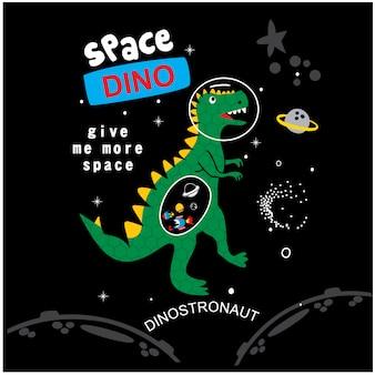 Vetor de desenhos animados do espaço dino