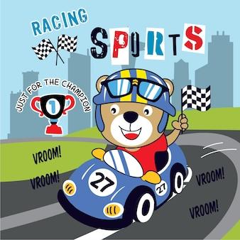 Vetor de desenhos animados engraçados de corrida esporte