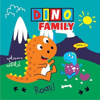 Vetor de desenhos animados família dinossauros