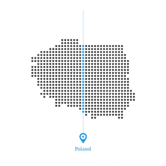 Vetor de desgin mapa pontilhado de polónia