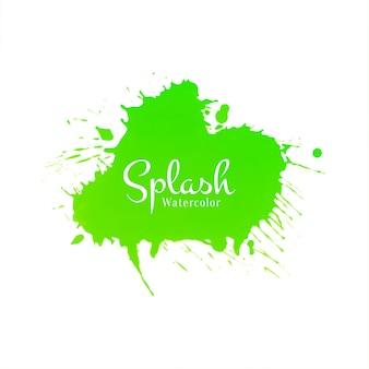 Vetor de design abstrato verde aquarela respingo