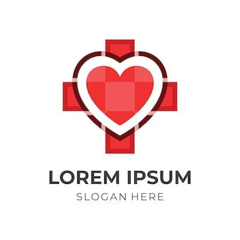 Vetor de design de amor médico, mais e modelo de logotipo de coração