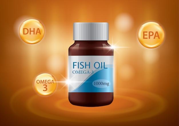 Vetor de design de anúncios de cartaz de óleo de peixe realista 3d
