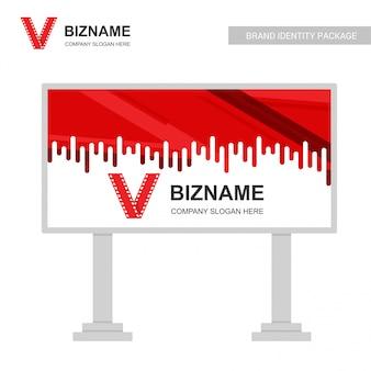 Vetor de design de anúncios de placa de empresa com logotipo de vídeo