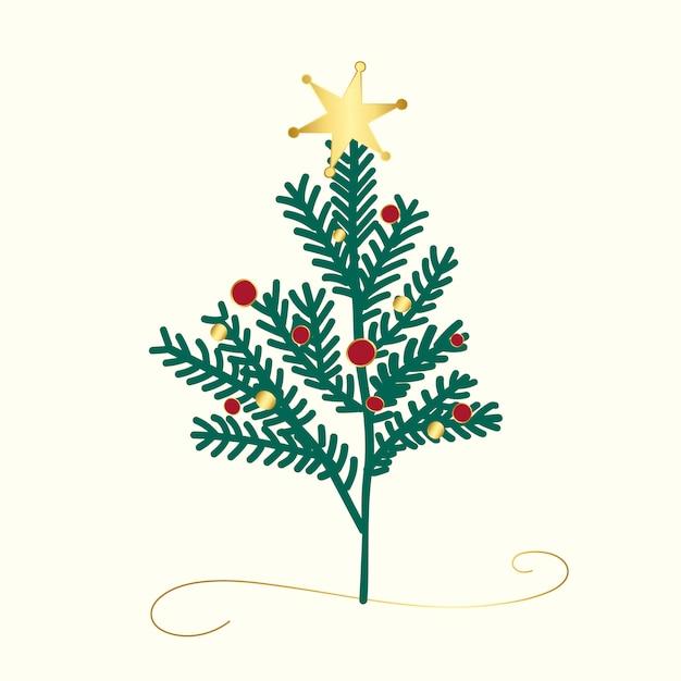 Vetor de design de árvore de natal decorada