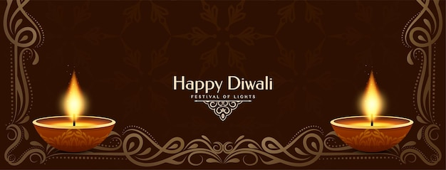 Vetor de design de banner clássico religioso feliz diwali festival
