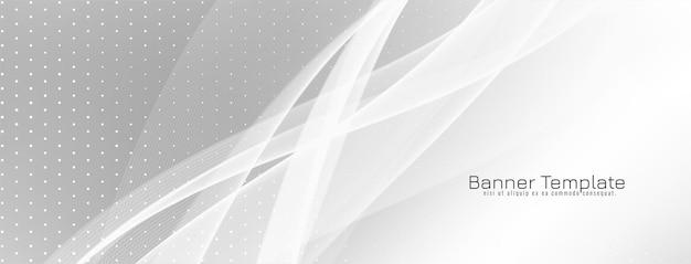 Vetor de design de banner de cor cinza elegante estilo onda