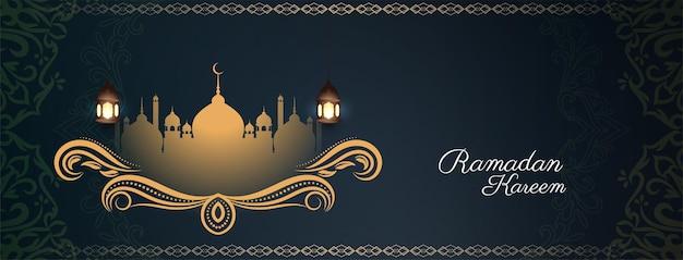 Vetor de design de banner de festival elegante e elegante ramadan kareem