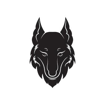 Vetor de design de cabeça de lobo em fundo branco. ilustração em vetor em camadas editável fácil. animais selvagens.