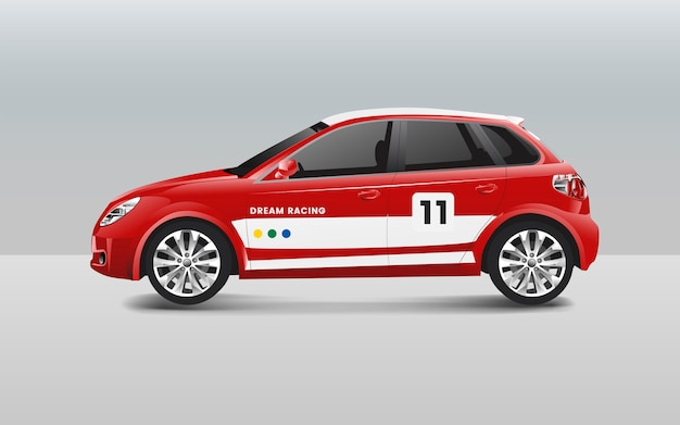 Vetor de design de carro de corrida hatchback