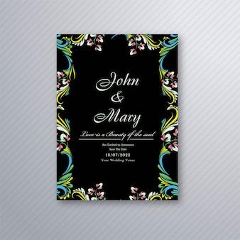 Vetor de design de cartão de convite de casamento floral decorativo