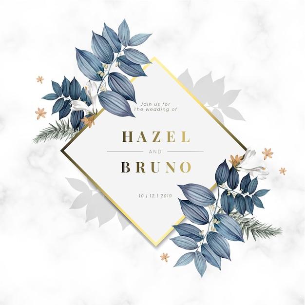 Vetor de design de cartão de convite de casamento floral
