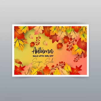 Vetor de design de cartão de venda temporada outono